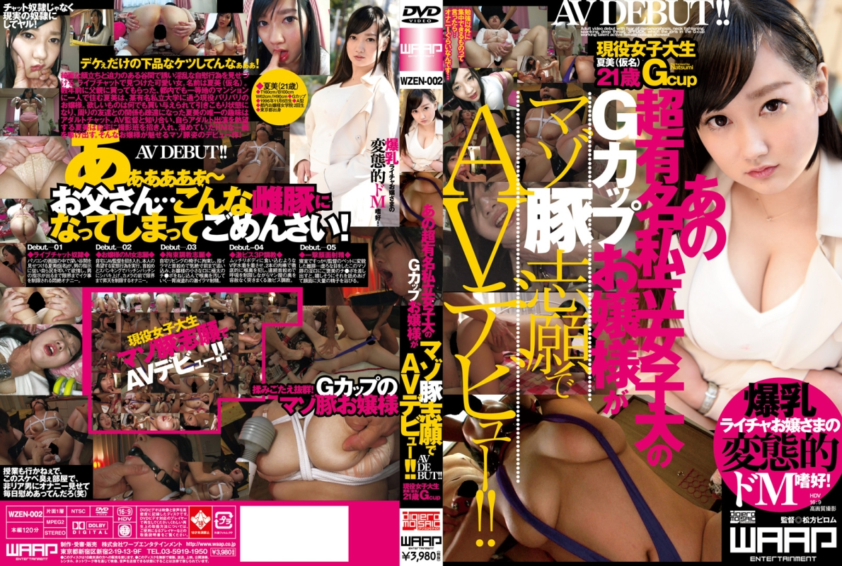 [WZEN-002] あの超有名私立女子大のGカップお嬢様がマゾ豚志願でAVデビュー... Amateur Debut 120分 Schoolgirls